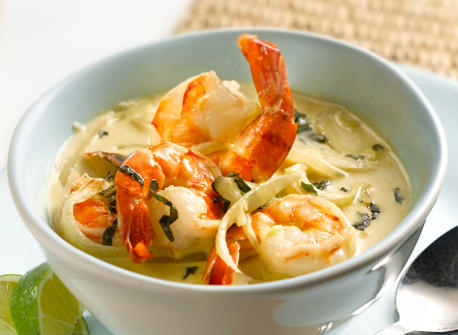 Green Curry Shrimp with Basil