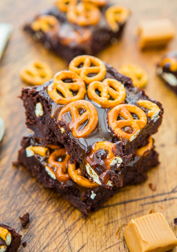 Recipe: Salted Caramel Pretzel-Topped Fudgy Brownies