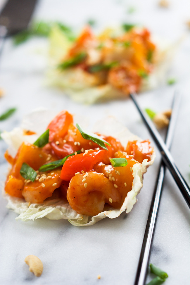 Skinny Sweet and Sour Shrimp Lettuce Wraps