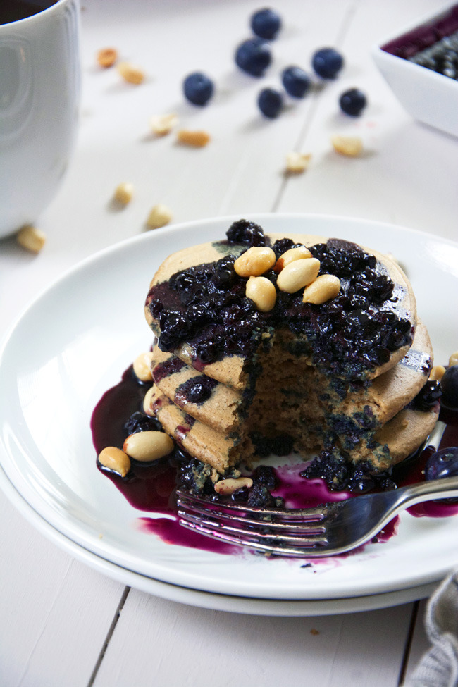 Oatmeal Peanut Butter Pancakes with Blueberry Glaze