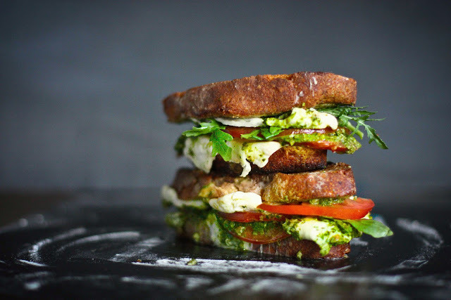 Caprese Grilled Cheese with Arugula Pesto RECIPE