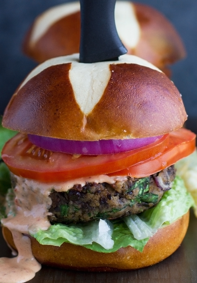 Black bean mushroom burgers with chipotle mayo