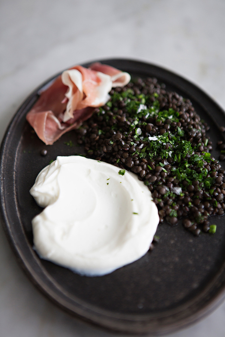 Black Beluga Lentils with Prosciutto + Yogurt