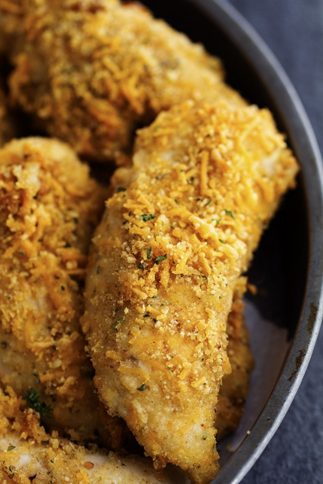 Baked Garlic Cheddar Chicken Strips