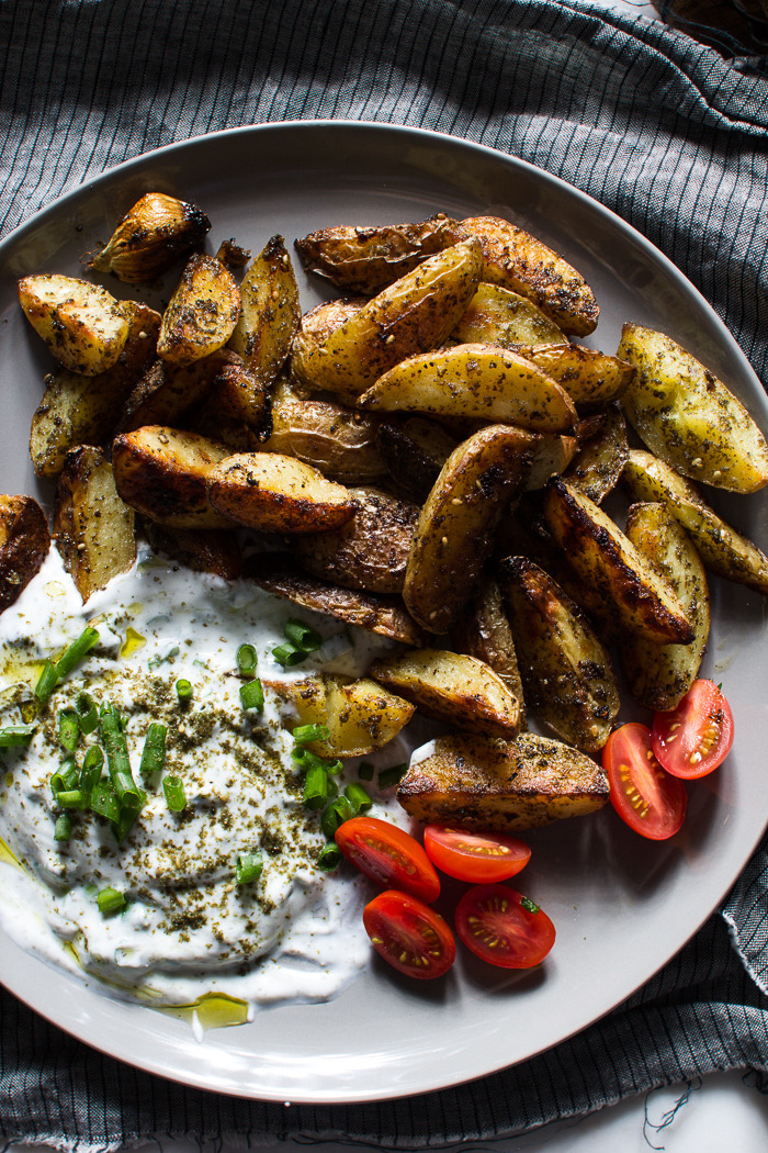 Crispy Za'atar Fries with a Garlic Scallion Dipping Sauce