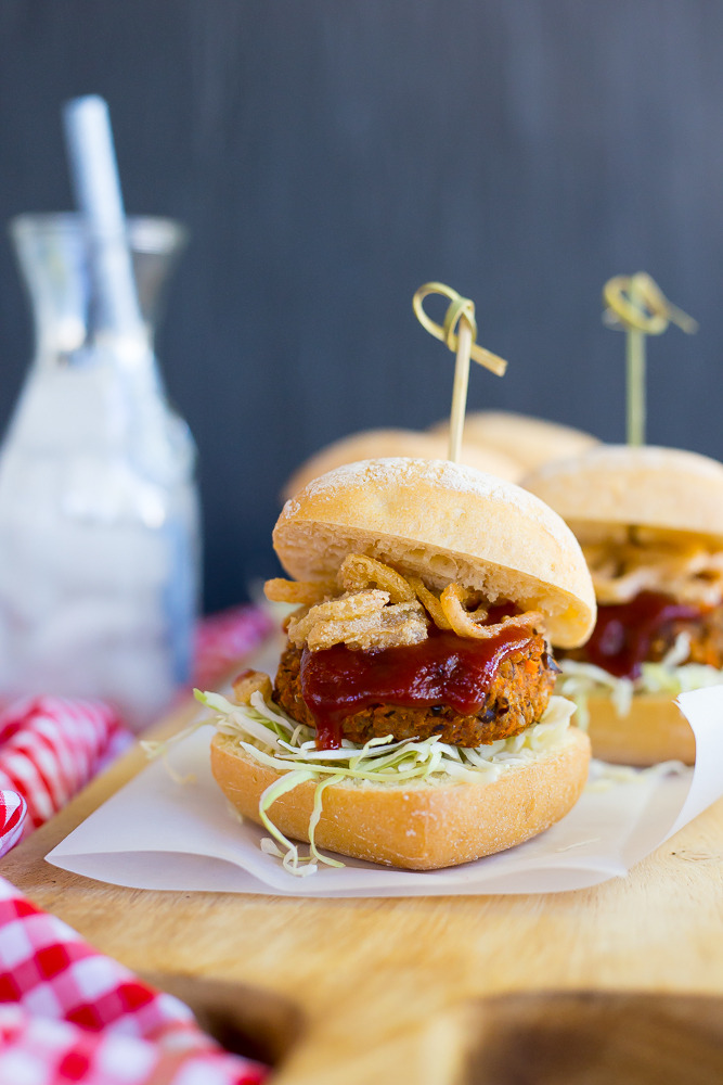 BBQ Black Bean & Sweet Potato Sliders with Crispy Shallots {vegan}